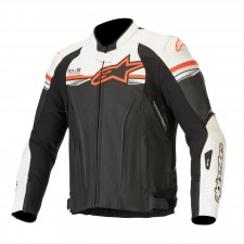 Alpinestars Gp R V2 Leather Jacket Tech-air Compatible Black White Red Fluo