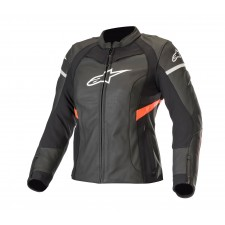 Alpinestars Stella Kira Leather Jacket Black Red Fluo