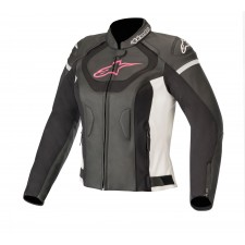 Alpinestars Stella Jaws V3 Leather Jacket Black White Fuchsia