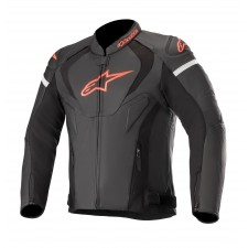 Alpinestars Jaws V3 Leather Jacket Black Red Fluo