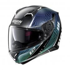 Nolan N87 Sioux n-com Flat Black/Blue Green