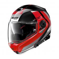 Nolan N100 5 Hilltop n-com Glossy Black/Red