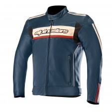 Alpinestars Dyno V2 Leather Jacket Navy Stone Red