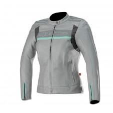 Alpinestars Stella Dyno V2 Leather Jacket Cool Gray Aqua
