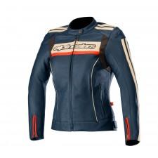 Alpinestars Stella Dyno V2 Leather Jacket Navy Stone Red