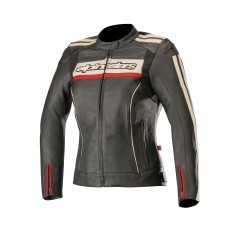 Alpinestars Stella Dyno V2 Leather Jacket Black Stone Red