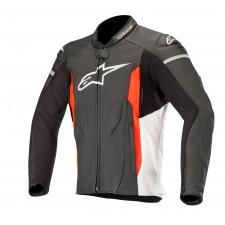 Alpinestars Faster Leather Jacket Black White Red Fluo