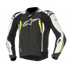 Alpinestars Gp Tech V2 Leather Jacket Tech-air Compatible Black White Yellow Fluo