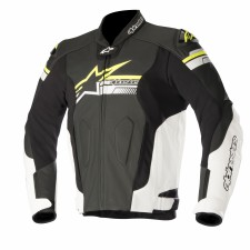 Alpinestars Fuji Leather Jacket Black White Yellow Fluo