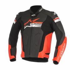 Alpinestars Fuji Leather Jacket Black Red Fluo