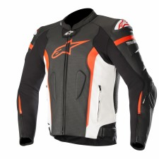 Alpinestars Missile Leather Jacket - Tech-air Compatible Black White Red Fluo Air