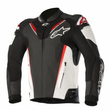 Alpinestars Atem V3 Leather Jacket Black White Red Fluo